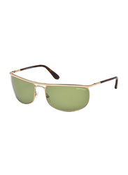 Tom Ford Ryder Full Rim Rectangular Rose Gold Sunglasses Unisex, Green Lens, TF418 28N, 68/18/125
