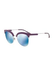 Emporio Armani Half Rim Clubmaster Purple Sunglasses for Women, Blue Mirrored Lens, EA4102 5610/55, 54/19/140