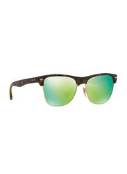 Ray-Ban Polarized Full Rim Clubmaster Matte Havana Sunglasses Unisex, Mirrored Green Lens, RB4175 609219, 57/16/145