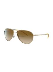 Oliver People Polarized Full Rim Aviator Sunglasses for Men, Brown Lens, 0OV1002S 524251, 62/16/130
