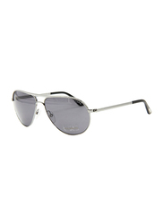 Tom Ford Marko Polarized Full Rim Aviator Silver Sunglasses Unisex, Blue Lens, TF144 14D, 58/13/140