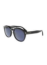 Tom Ford Newman Full Rim Round Shiny Black Sunglasses Unisex, Blue Lens, FT0515 01V, 53/21/145