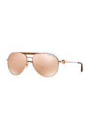 Michael Kors Zanzibar Full Rim Aviator Rose Gold Sunglasses for Women, Rose Gold Lens, MK5001, 58/18/135