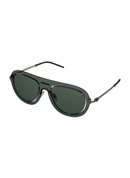 Emporio Armani Rimless Pilot Gold Sunglasses for Men, Light Green Mirrored Petrol Lens, EA2057 3002/6R, 41/141/140