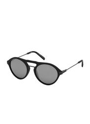 Mont Blanc Full Rim Round Matte Black Sunglasses for Men, Grey Lens, MB716S-02C-52, 52/20/140