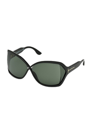 Tom Ford Julianne Full Rim Oversized Sunglasses for Women, Green Lens, FT0427 01N, 62/11/115