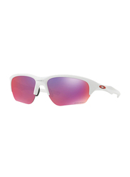 Oakley Flak Beta Half Rim Rectangular Matte White Sunglasses for Women, Mirrored Prizm Road Lens, OO9363-05, 64/8/131