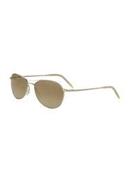 Oliver Peoples Aero Polarized Aviator Full Rim Gold Sunglasses for Women, Bourbon Polarized VFX Lens, OV 1005S 5035N6, 54/17/140