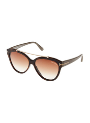 Tom Ford Livia Full Rim Cat Eye Brown Sunglasses for Women, Brown Lens, FT0518 53F, 58/14/140