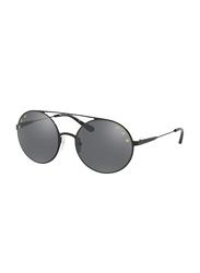 Michael Kors Cabo Full Rim Round Shiny Black Sunglasses for Women, Mirrored Gunmetal Lens, MK1027 12026G, 55/19/135
