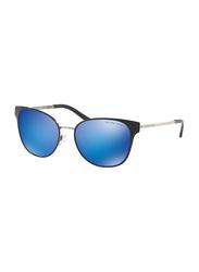 Michael Kors Tia Full Rim Cat Eye Black/Silver Sunglasses for Women, Mirrored Blue Cobalt Lens, MK1022 118525, 54/17/140