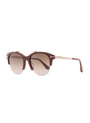 Tom Ford Adrenne Half Rim Oval Burgundy Sunglasses for Women, Burgundy 69T Lens, TF517/FT0517, 55/19/140