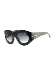 Tom Ford Mila Full Rim Oversized Black Sunglasses for Women, Grey Gradient Lens, TF403 01V, 53/23/130