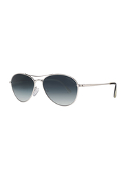 Tom Ford Oliver Full Rim Aviator Shiny Rhodium Sunglasses for Men, Blue Gradient Lens, TF 495 18W, 56/16/145