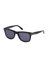 Tom Ford Leo Full Rim Rectangular Black Sunglasses for Men, Blue Lens, TF336 01V/FT0336, 52/21/145