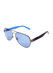 Polo Ralph Lauren Polarized Full Rim Aviator Gunmetal Blue/Brown Sunglasses for Men, Blue Lens, 3096 9050/72, 59/14/145