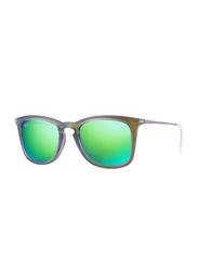 Ray-Ban Polarized Full Rim Wayfarer Shot Green Rubber Sunglasses for Women, Mirrored Green Lens, RB4221-61693R-50, 50/19/145