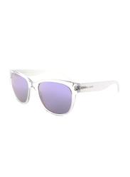 Michael Kors Spring Blossoms Polarized Full Rim Wayfarer Clear Sunglasses for Women, Mirrored Purple Lens, MK2038, 53/19/145