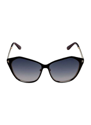 Tom Ford Lena Full Rim Butterfly Black Sunglasses for Women, Grey Gradient Lens, TF391 05B, 58/13/140