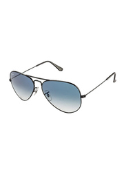 Ray-Ban Polarized Full Rim Aviator Black Sunglasses Unisex, Blue Gradient Lens, RB3025 002/3F, 58/14/135