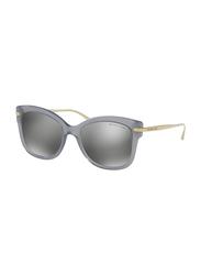 Michael Kors Lia Full Rim Square Grey Sunglasses for Women, Mirrored Silver Lens, MK2047 32456G, 53/18/140