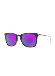Ray-Ban Polarized Full Rim Wayfarer Purple Sunglasses for Women, Mirrored Violet Lens, RB4221 61684V, 50/19/145