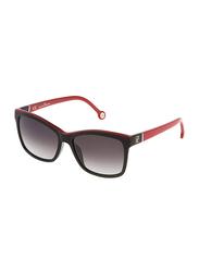 Carolina Herrera Full Rim Wayfarer Sunglasses for Women, Grey Lens, SHE598 09H7, 55/16/140