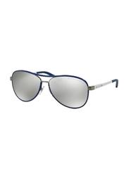 Polo Ralph Lauren Full Rim Aviator Brushed Gunmetal Blue/White Sunglasses for Women, Mirrored Grey Lens, 0RL7050Q-92996G, 60/13/140