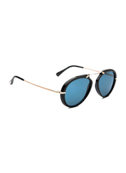 Tom Ford Aaron Full Rim Aviator Black/Gold Sunglasses for Men, Blue Lens, FT0473, 53/17/145