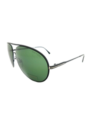 Tom Ford Cliff Full Rim Aviator Black Sunglasses for Unisex, Green Lens, TF450 02N, 61/11/140