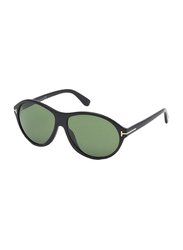 Tom Ford Tyler Full Rim Oval Black Sunglasses for Women, Green Lens, TF398 01N, 60/14/145