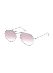 Tom Ford Ace Pilot Full Rim Aviator Shiny Rhodium Sunglasses Unisex, Pink Lens, FT0551 18Z, 53/17/145