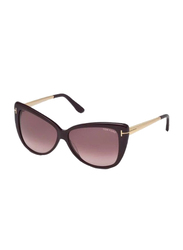 Tom Ford Reveka Full Rim Cat Eye Rose Gradient Sunglasses for Women, Violet Burgundy Lens, TF512 81Z, 59/12/140
