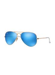 Ray-Ban Full Rim Aviator Gold Sunglasses Unisex, Blue Lens, 0RB3025 112/17, 55/14/145