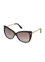 Tom Ford Reveka Full Rim Cat Eye Black/Gold Sunglasses for Women, Mirrored Brown Lens, FT0512 52G, 59/12/140