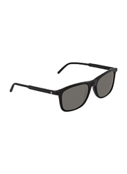Mont Blanc Polarized Full Rim Rectangular Black Sunglasses for Men, Grey Lens, MB 593S 01D, 45/18/145