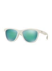 Oakley Moonlighter Polarized Full Rim Square White Sunglasses for Women, Mirrored Green Iridium Lens, OO9320-06, 53/17/139
