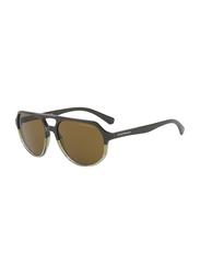 Emporio Armani Full Rim Pilot Green Sunglasses for Men, Brown Lens, EA4111 562773 57, 57/18/145