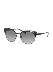 Michael Kors EVY Full Rim Cat Eye Black Sunglasses for Women, Grey Gradient Lens, MK1023, 56/17/140