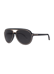 Tom Ford Sergio Polarized Full Rim Aviator Black Sunglasses Unisex, Dark Grey Lens, TF379 01A, 60/14/140