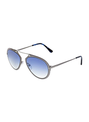 Tom Ford Dashel Full Rim Aviator Silver Sunglasses for Unisex, Blue Gradient Lens, TF 508 12W, 55/18/145