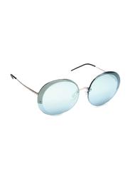 Emporio Armani Half Rim Round Matte Silver Sunglasses for Women, Blue Lens, EA 2044 3045/6J, 61/16/140