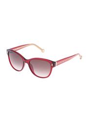 Carolina Herrera Polarized Full Rim Wayfarer Red Sunglasses for Women, Brown Gradient Lens, SHE597 0954, 55/18/135