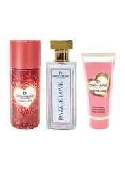 Daisy La Blanc 3-Piece Dazzle Love Limited Edition Gift Set for Women, EDP 80ml, 60ml Body Lotion, Body Spray