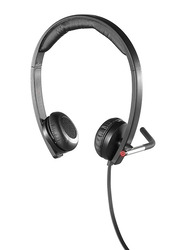 Logitech H650e Corded Wired On-Ear Noise Cancelling Headphones, Black