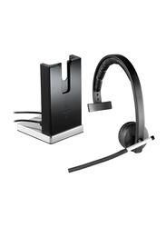 Logitech H820E Mono Wireless On-Ear Noise Cancelling Headphones, Black