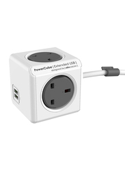 Allocacoc 7404/UKEUPC Wall Charger Extended Power Cube, 2.1A with Lightning to USB Data and Charge Cable, White/Grey