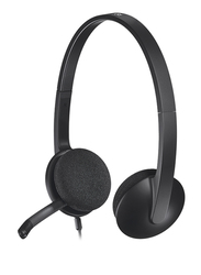 Logitech H340 USB Wired Over-Ear Noise Cancelling Headphones, Black