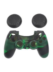 Game Controller Analog Grips Thumbstick Silicon Cover Case for Sony PlayStation PS4, Black/Green