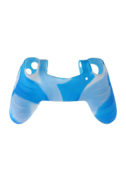Silicone Gel Rubber Case Skin Grip Cover Case for PlayStation PS4 Controller, with Thumb Sticker Cover, Blue/Black